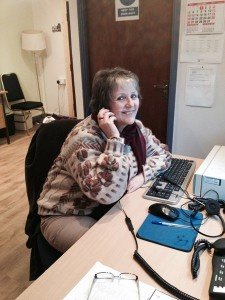 Betty Duignan helping out at Rossinver Calling.
